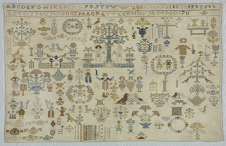 Signed and dated Magret Eekhors Anno 1711. Alphabets, numerals and detached motifs showing people, flowers, religious symbols, animals, birds, crowns, etc.