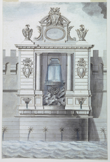 Wall fountain topped with a pair of trophies and a pediment with the arms of Pope Clement XIV.