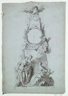 Boughs form a medallion for the dial on an obelisk, which is topped by a spread eagle. A putto blows a trumpet beside the dial. An inscription is suggested at the base of the obelisk. A girl is introduced to another, holding a carpenter's rule to a seated woman who holds a mace; before the pedestal of the obelisk. A child talks to what apparently is a monkey behind the seated woman. Scale, pencil at the bottom.