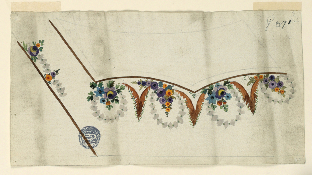 Design for the embroidery at the left bottom corner of a man's waistcoat. The left edges of the waistcoat and of the pocket and the latters bottom edge are shown, brown stripes. The flap is outlined with pencil. Four bunches of flowers, each at the bottom of a wreath are beneath the bottom edge of the pocket. Three leaf pyramids are in the intervals. A garland connecting two alternating bunches of flowers is shown beside the rising edge of the waistcoat.