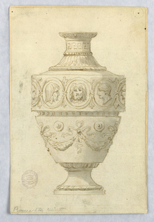 Elevation of a footed vase. Lower body decorated with festoons between bow knots. Upper body decorated with busts within medallions. Greek key motif at neck.