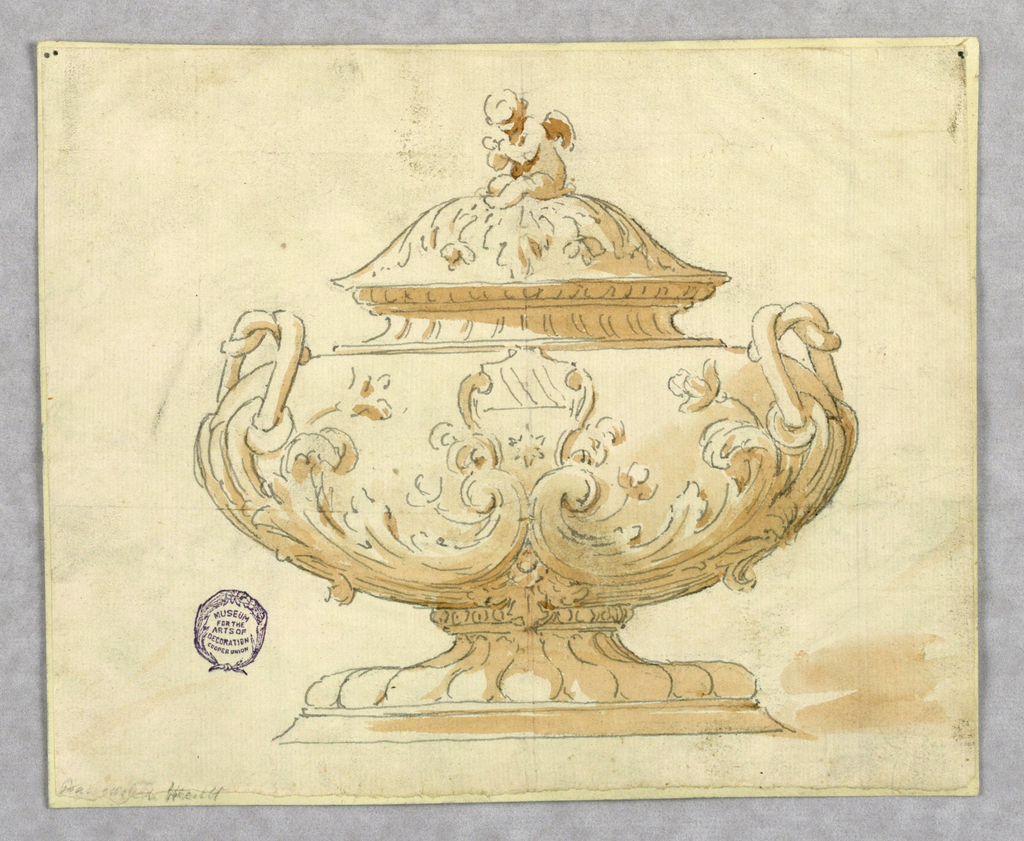 Elevation of a tureen with gadrooning at base. Body decorated with scrolling acanthus leaves and a shield with star. Twisting handles. Finial in the form of a seated putti.