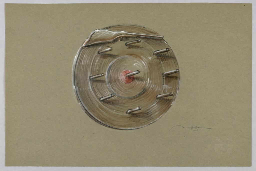 Dart wheel with gun in brown.