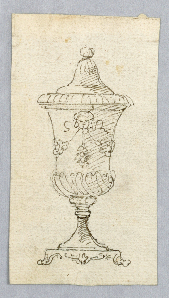 Vertical rectangle with loose elevation sketch of an urn with spiraling gadrooning.