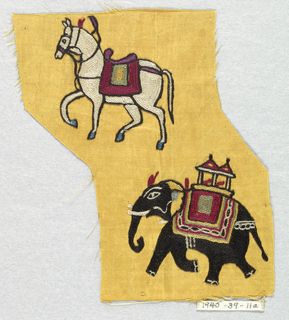 Yellow satin embroidered in chain stitch with a design of a white horse and a black elephant.