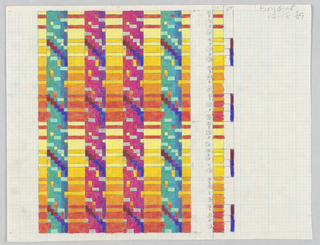 Drawing, Textile Design: Pillars of Heaven, #2, 1989