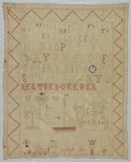 Zigzag border enclosing three alphabets and various practice letters with assorted motifs dominated by a ship at the bottom.