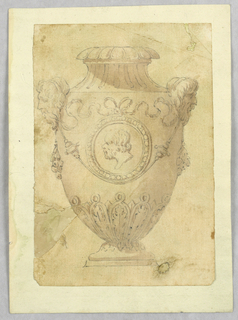 Vertical rectangle showing vase decorated with swags and cameo profile