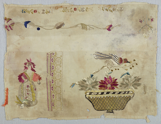 Fragment of a sampler embroidered in polychrome silk showing a basket with flowers and birds, and a standing woman. Geometric border pattern and floral sprays.