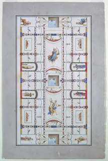 Drawing, Ceiling Painted in Pompei, ca. 1840