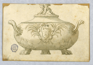 Elevation of a tureen with lid. Three paw feet, scrolling handles. At front, a cartouche framed with palm fronds. Finial in the form of a cherub.