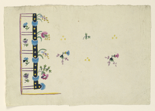 Five buttonholes are shown over a rectangular violet and yellow edged corner at left. A black, yellow edged moulding connects the inner ends of the botton holes and is to run parallel to the bottom edge of the waistcoat. Blue feathery wreaths and three dots are to alternate as decorations of the moulding, from the inner side of which boughs grow. Flower boughs are shown between the buttonholes. The field is to be decorated with rows of three dots alternating in alternative rows with a leaf bough and with a half flower plant.