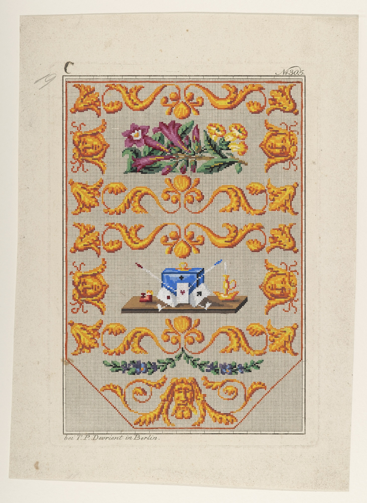 Design for wool work.  Scroll design in yellow.  In center a blue box, lighted candle and some playing cards.