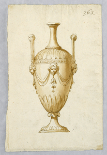 An amphora with high handles and the head of a centaur on top.