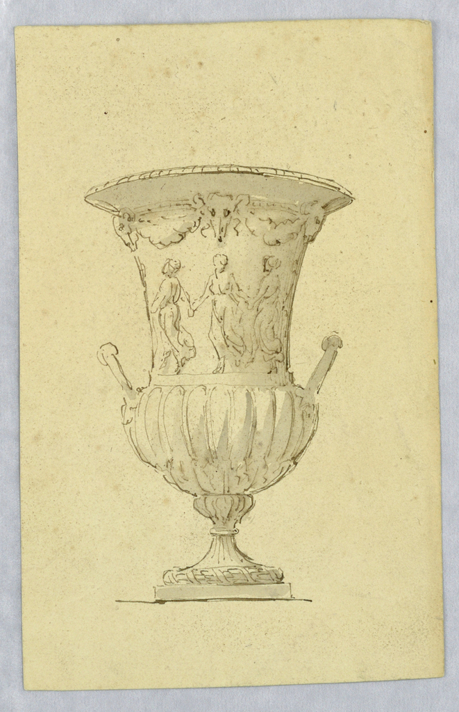 Elevation of urn with dancing women, bucranium and gadrooning.