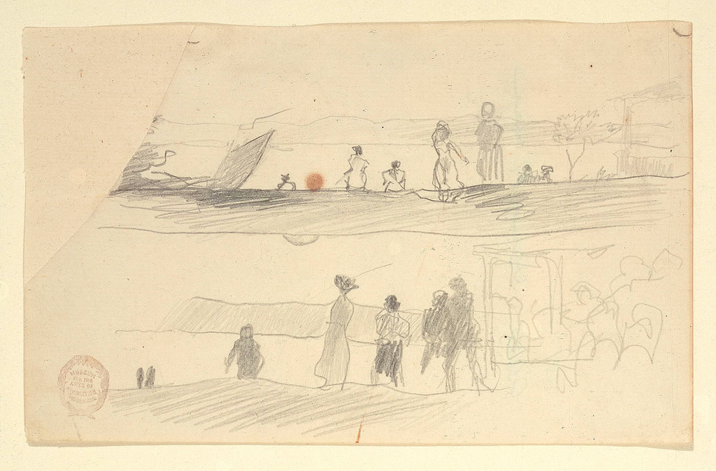 Two horizontal sketches, one above the other, of people standing on high ground overlooking a bay.
