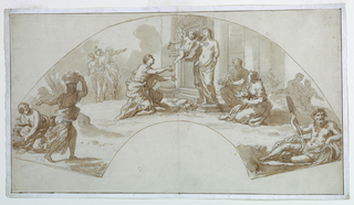Before a classic portico, a female figure with the attributes of the Visual Arts kneels in adoration before a statue of Venus. Cupid flies above. Other figures, including a river god at lower right.