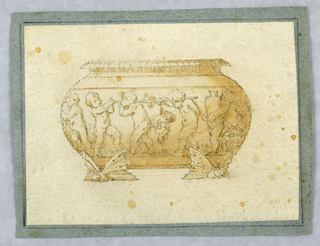Vertical rectangle showing a bowl with putti and grapes. Feet in the form of insects.