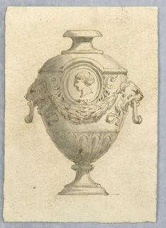 Designs for footed urn the antique style with lions, swag and profile medallion.