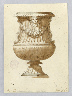 Elevation of a vase. Bottom decorated with acanthus leaves. Swags across body at top and mask under lip.