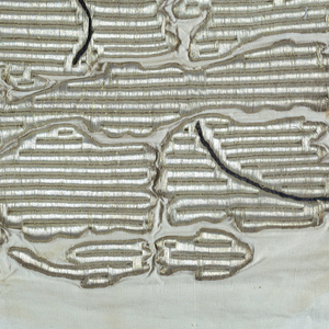 Abstract design of plant in heavy vertical ribs of metal-wrapped silk.