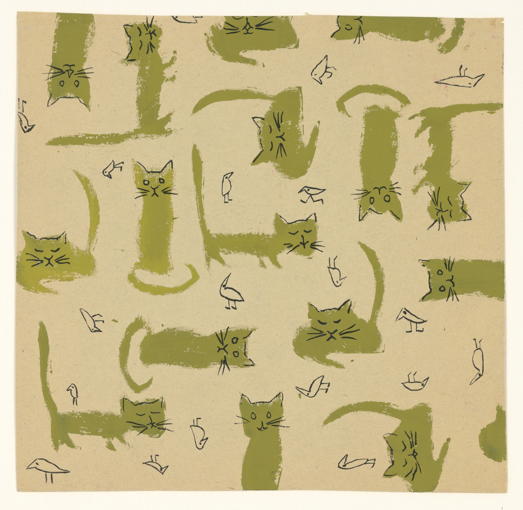 Drawing, Textile Design: Cats and, 1957