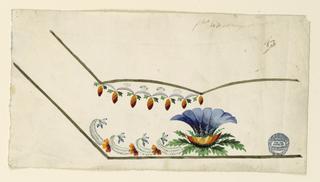 Unfinished design for the bottome left corner. A plant and flower scrolls at the bottom; crest border under the pocket.