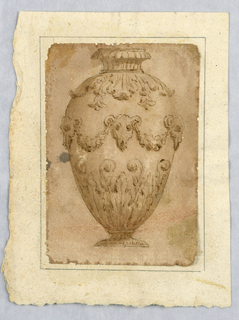 Vertical rectangle showing vase decorated with bucranium and swags.