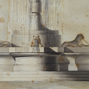 A fountain whose central basin stands upon a high shaft expels water through a pinecone finial. Lions sit upon a lobed lower basin, with water flowing from their mouths. Figure groups surround the fountain. At front, a ruined obelisk with the suggestion of hieroglyphs.