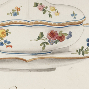 An oval covered sugar bowl with gold knob and matching oval stand.  Rim of cover and stand are painted with scalloped band in gold, inside of which is a thin blue band. The body of cover, bowl and inside of stand are painted with floral sprays of yellow and deep pink roses, blue ranuculusses/daisies, and yellow tulips.