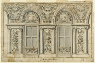 Two windows. Above a couped pediment with an escutcheon containing a landscape. The compartments between and beside the windows with a gueridon with flowers and a medallion above in a framed panel between two columns with entablature and a balustrade above. In the corners beginning of an open arch.