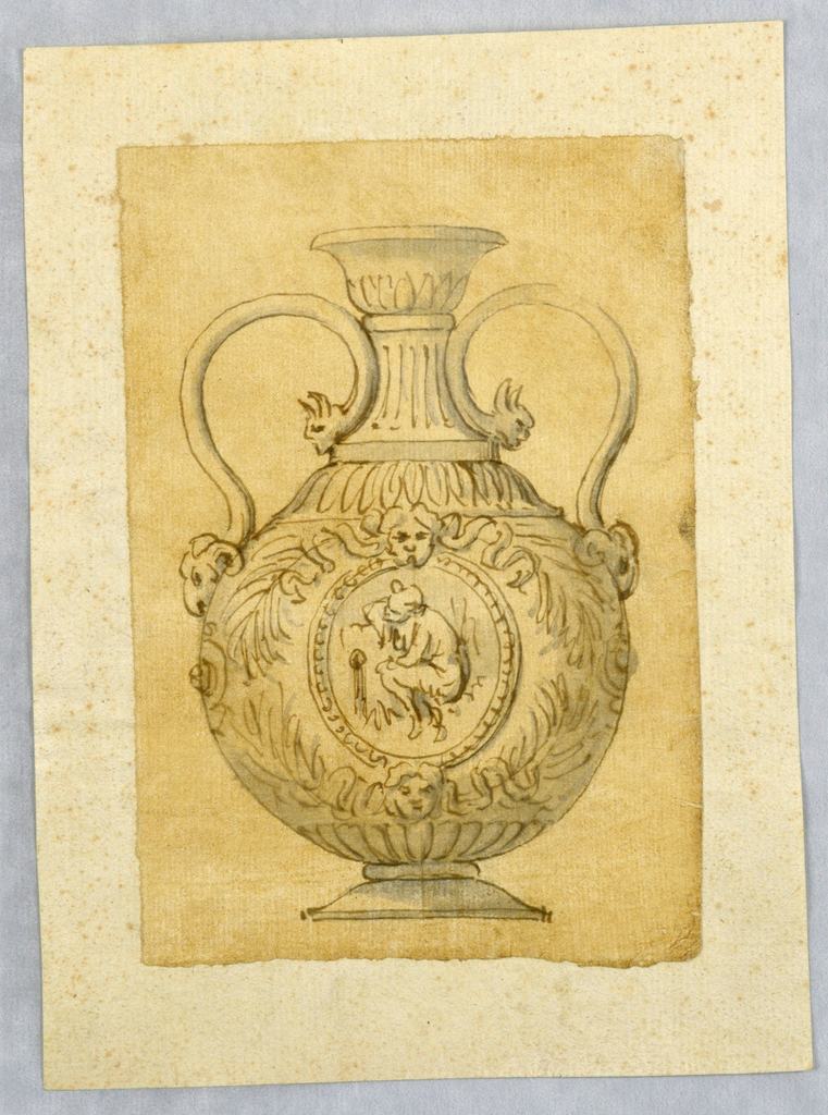 Vertical rectangle showing a vase decorated with masks and a roundel.