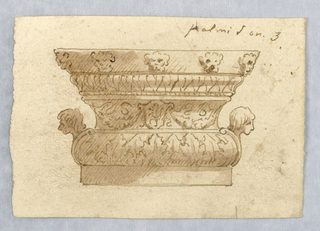 Vertical rectangle showing vase decorated with masks and acanthus leaves.