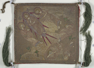 Gold and silver (wound on silk core) solidly couched in small waffle effect. Hands, faces, feet in silk, chain or split-stitch. Outlines for elaborate folds of garments in red silk running stitch, rays of Christ's mandorla in red silk satin stitch, with blue outline. Symbols for foliage in green. Transfiguration of of Christ. In top corner, Christ in mandorla, flanked by Elias and Moses with book. Three disciples, Peter, James and John crouching below. Braided cord for hanging attached to top corner; other three have long tassels of green silk bound at top in metal. Backed in red linen twill; white cardboard inserted for stiffness.
