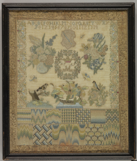 Worked in colored silks on a fine, sheer linen background.  Central cartouche with date 1719, flowers, coat of arms, basket of fruits, birds and insects, alphabet and numerals, floral bands; at bottom two bands of bargello work and needlepoint fillings; border of gilt-embossed leather.