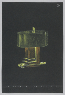 Drawing, 6. Table lamp with green