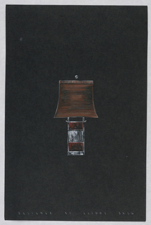 Drawing, Table lamp with red and w