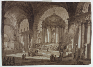Horizontal rectangle. Interior of huge vaulted temple, seen at an angle from right to left, inside monoptral building serving as a sort of altar; groups of people worshipping.