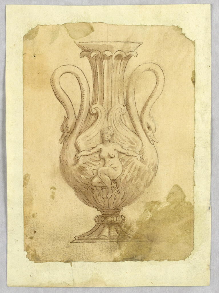 Vertical rectangle showing a vase with a nude woman, possibly Leda, and two swans whose necks form handles.