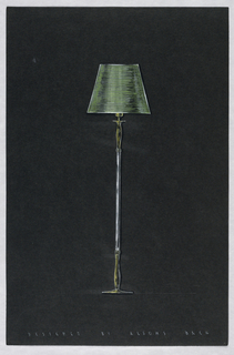 Drawing, Floor lamp with green sha