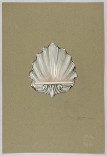 Drawing, White shell with shelf
