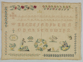 "Two alphabets introduced by a Maltese cross and a crown. Scattered motifs at the bottom including a seated Chinese figure, a man and a dog, birds and flowers and the initial ""P"" in a floral wreath. The sacred monogram (IHS) is at the top. The border is made of eight different floral bands, embroidered two on each side."