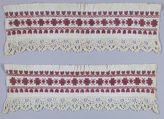 Narrow bands edged with bobbin lace on one side. Pattern shows rows of star-shaped ornaments embroidered in red and black on a white ground.