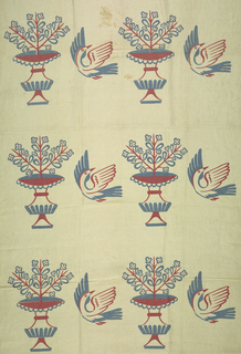 Printed pattern in blue and pink on plain weave showing a flowering plant in a footed vase and a flying bird facing right.
