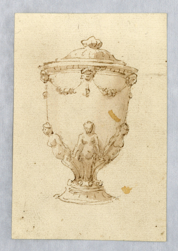 Vertical rectangle showing a vase with three nudes at the base.