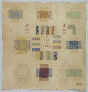 "Central square removed and inserted with pattern darning with ""12 years old"" (oud 12 Jaar) in center surrounded with nine examples of darning."