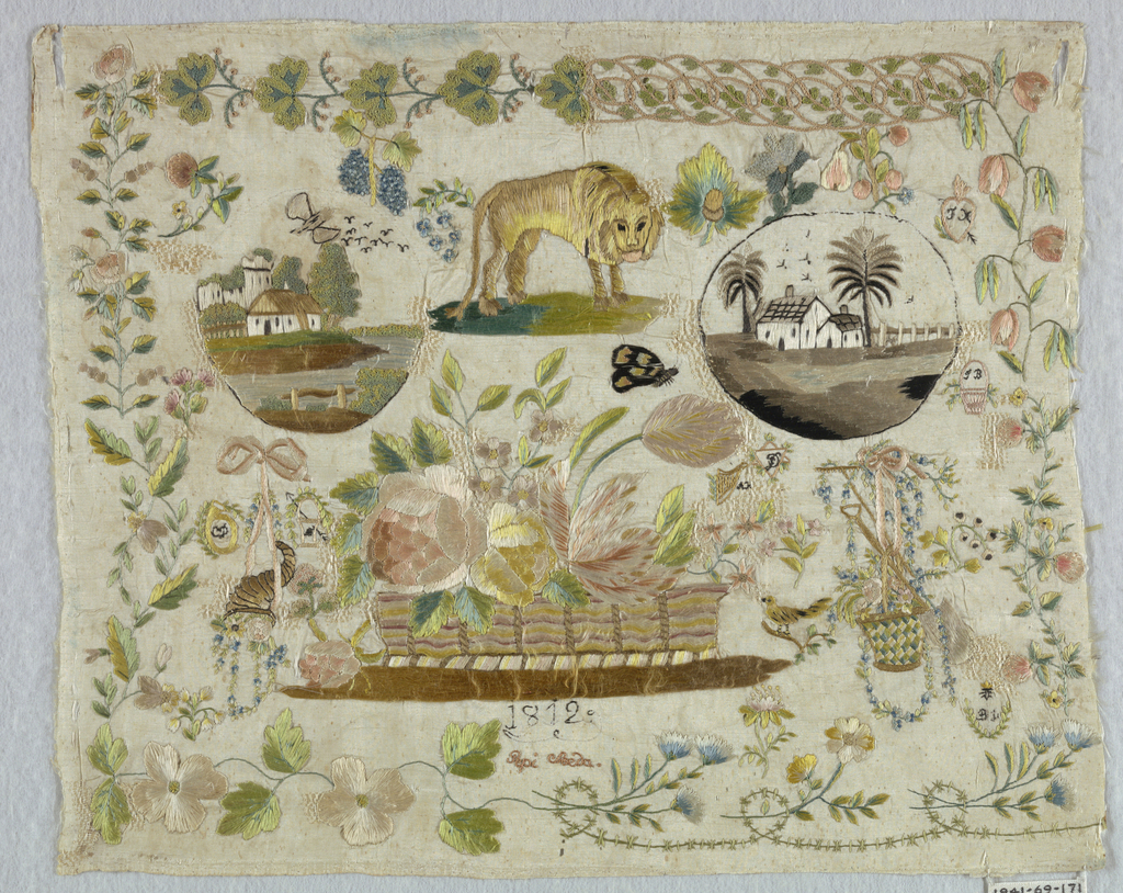 Border of eight floral patterns. Inset are two landscapes, a lion, baskets of flowers, insects, etc.