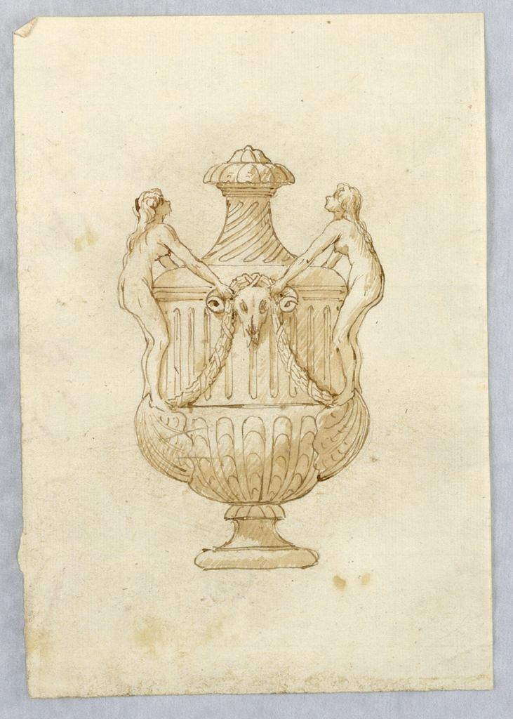 Vertical rectangle showing a vase with two nudes holding a bucranium