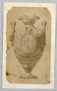 Vertical rectangle showing a vase in the classical style decorated with cornucopia, a lion mask and a roundel with a satyr and fawn dancing.