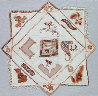 Embroidery and open work patterns in shades of brown in a square within a square arrangement.